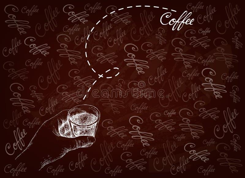 Ręka Rysująca osoba Trzyma A Strzelający kawa royalty ilustracja