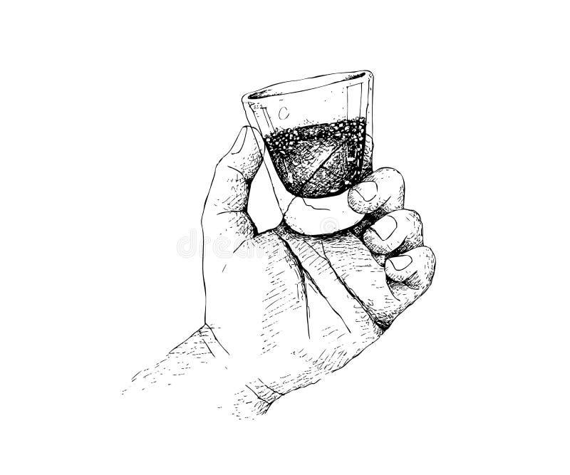 Ręka Rysująca osoba Trzyma A Strzelający whisky ilustracja wektor