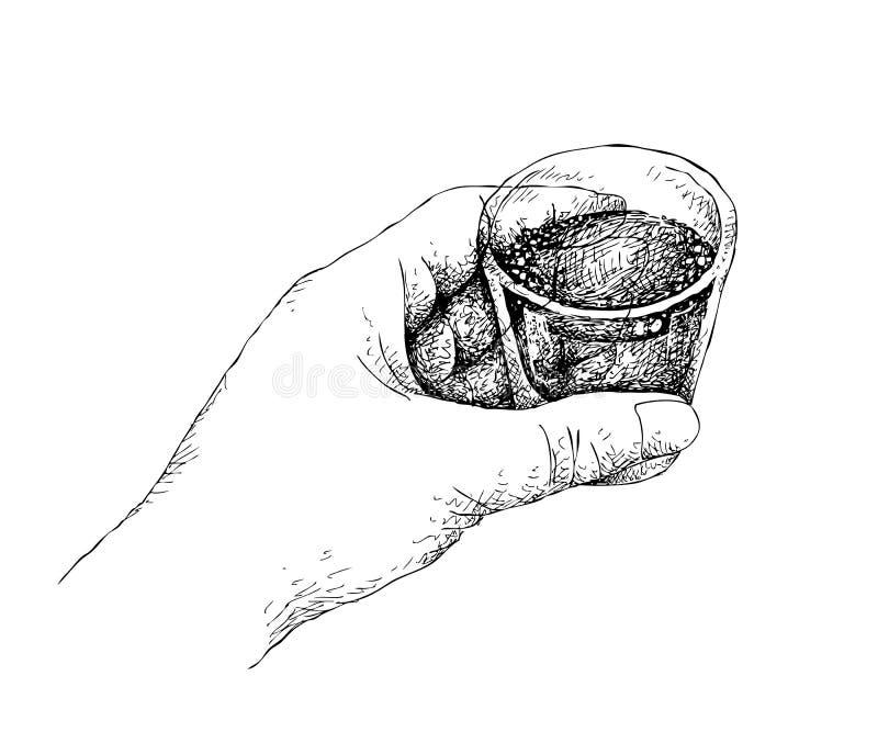 Ręka Rysująca osoba Trzyma A Strzelający whisky royalty ilustracja