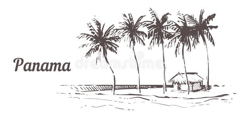 Ręka rysująca palmy plaża Panamska wyspa z plażowym domem, nakreślenie wektoru ilustracja royalty ilustracja