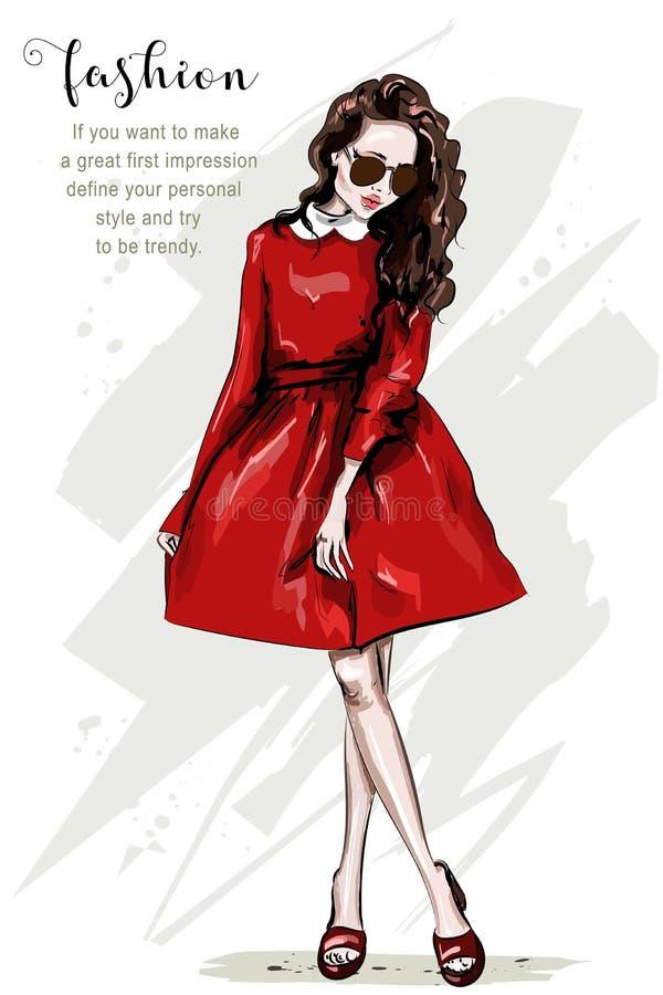 Ręka rysująca piękna kobieta w czerwieni sukni Mody ciała kobieta folujący portret eleganccy dziewczyna okulary przeciwsłoneczne ilustracja wektor