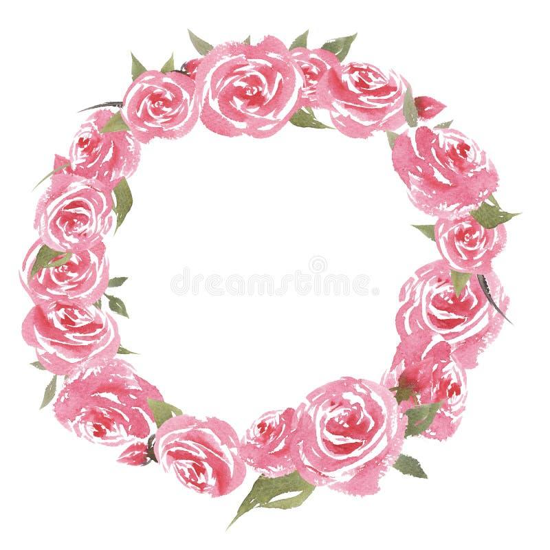 Ręka rysująca piękna kolorowa rocznik akwareli rama z kwiatami ilustracji