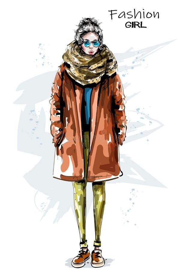 Ręka rysująca piękna młoda kobieta w żakiecie eleganccy dziewczyna okulary przeciwsłoneczne Mody kobiety spojrzenie Zima strój ilustracji