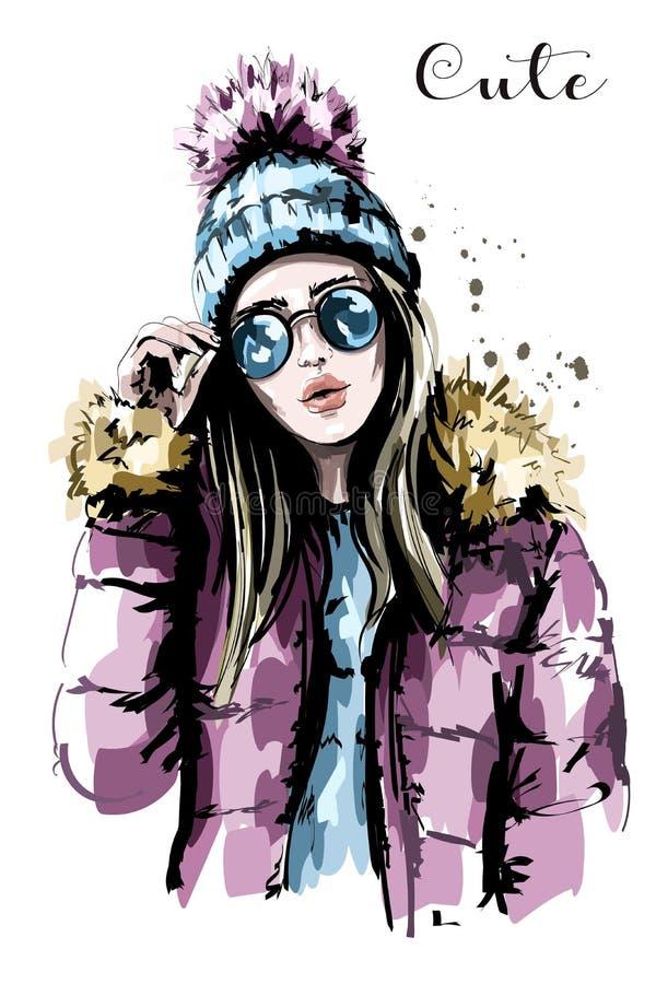Ręka rysująca piękna młoda kobieta w dzianina kapeluszu okulary przeciwsłoneczne mody kobieta elegancka dziewczyna ilustracji