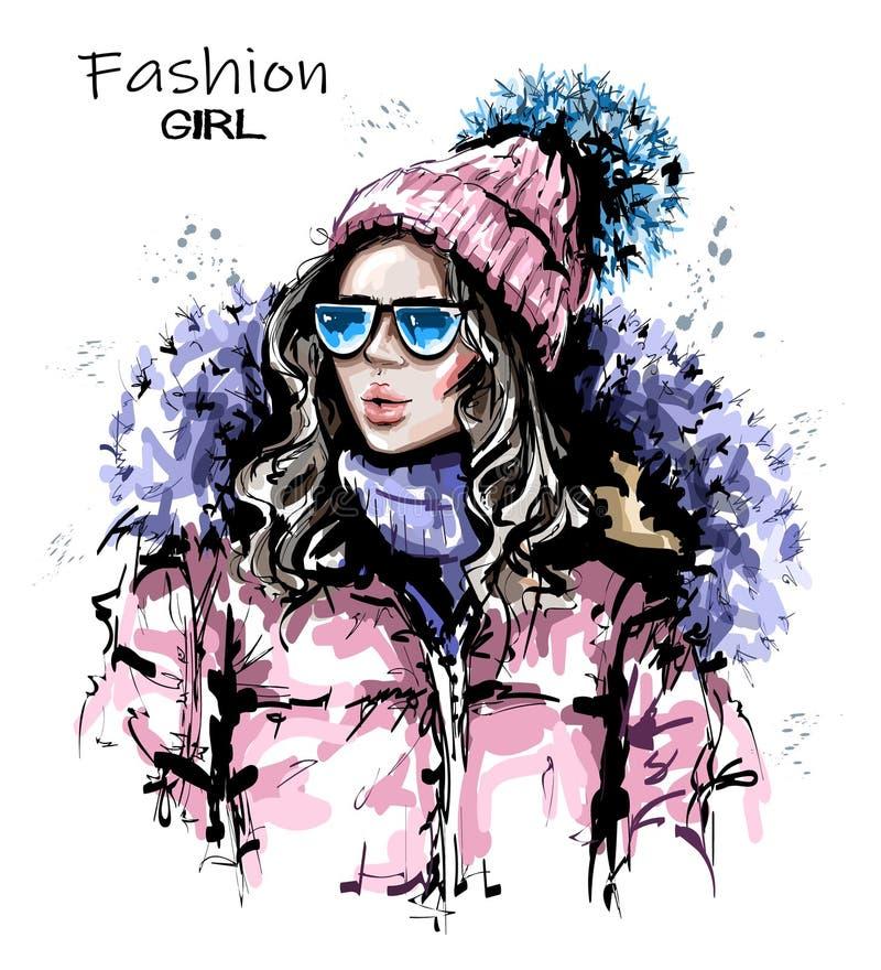 Ręka rysująca piękna młoda kobieta w dzianiny nakrętce Elegancka dziewczyna w zimie odziewa Mody kobiety spojrzenie ilustracja wektor