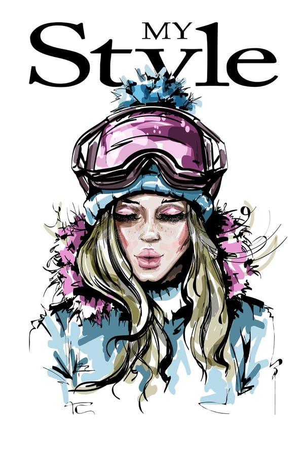 Ręka rysująca piękna młoda kobieta w zimie odziewa Elegancka dziewczyna w zima gogle Mody kobiety spojrzenie ilustracja wektor