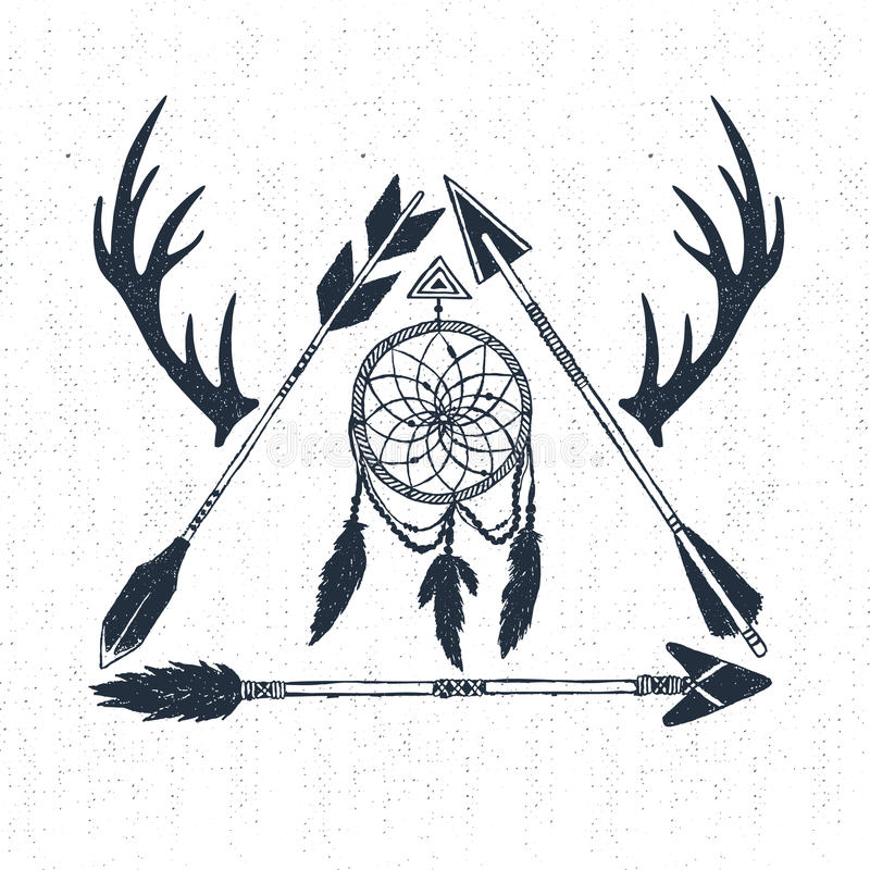 Ręka rysująca plemienna ikona z łapaczem, rogami i strzała wektoru ilustracją textured wymarzonymi, ilustracja wektor