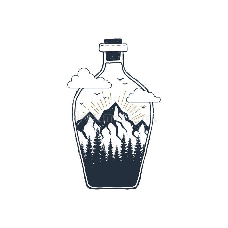 Ręka rysująca podróży odznaka z textured wektorową ilustracją ilustracji