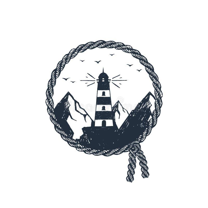 Ręka rysująca podróży odznaka z textured wektorową ilustracją ilustracja wektor