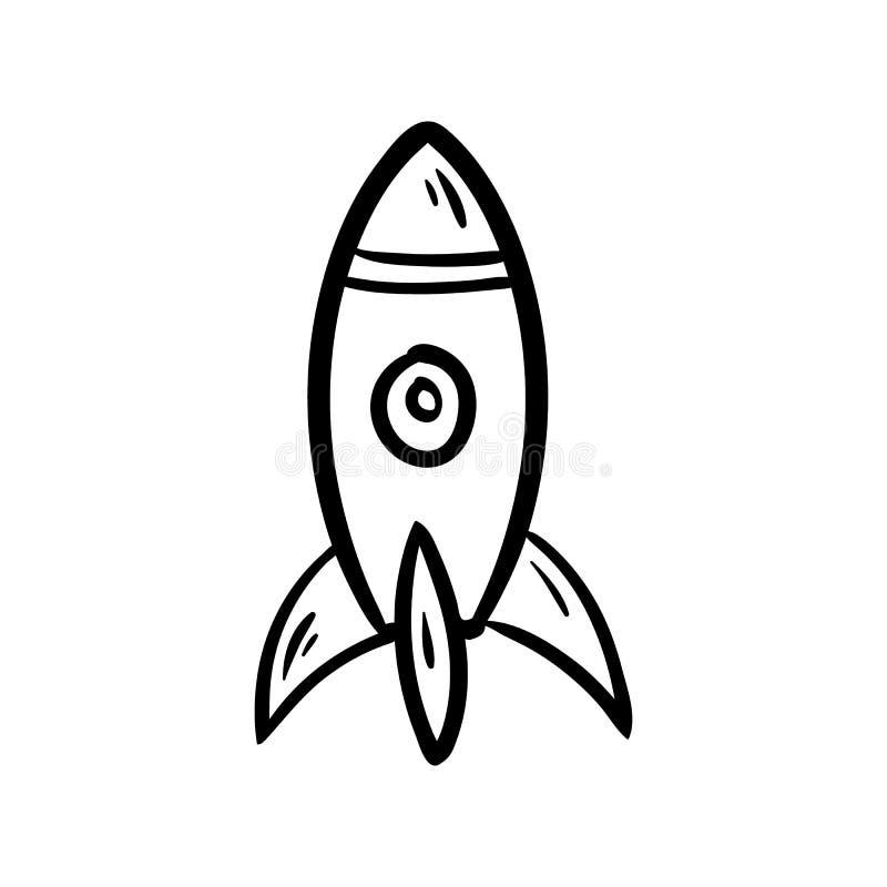 Ręka rysująca rakietowa doodle ikona Ręka rysujący czarny nakreślenie szyldowy symbol Dekoracja element Biały tło odosobniony Pła royalty ilustracja