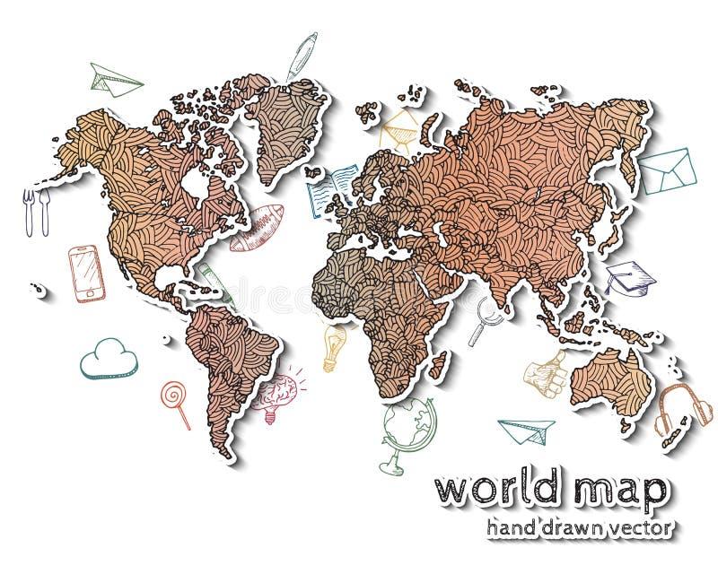 Ręka rysująca realistyczna światowa mapa ilustracji