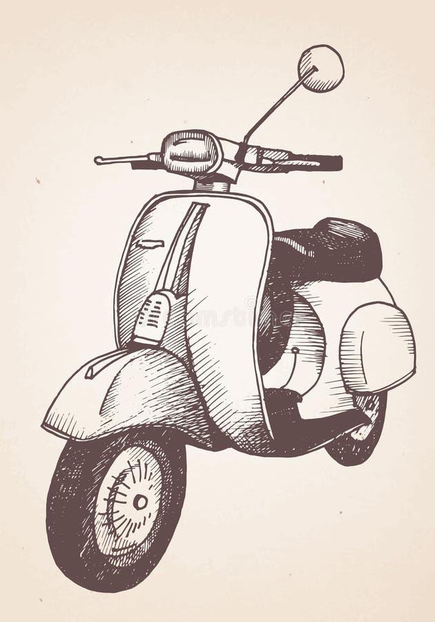 Ręka rysująca retro hulajnoga ilustracji
