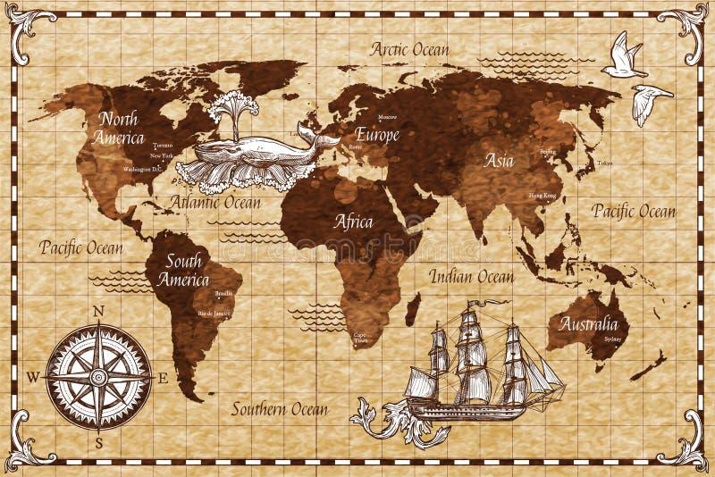Ręka Rysująca Retro mapa ilustracja wektor