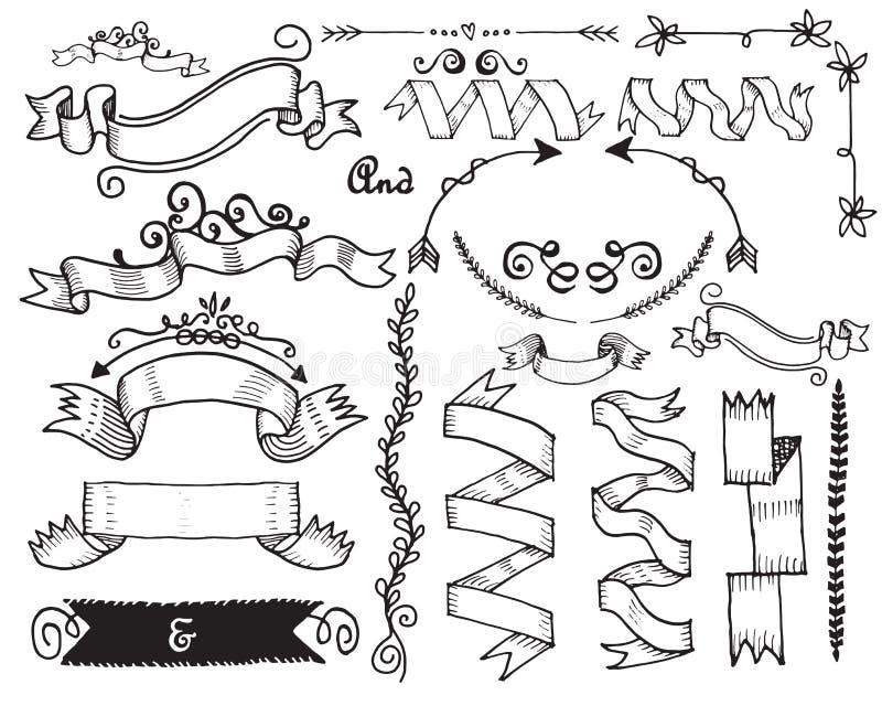 Ręka rysująca rocznik etykietka ilustracji