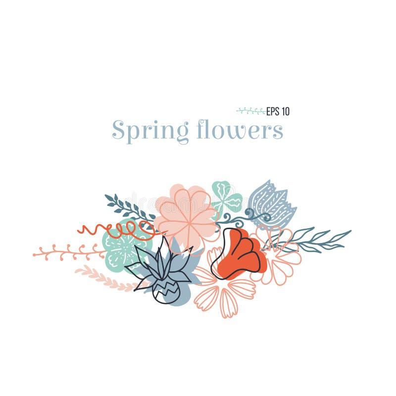 Ręka rysująca romantyczna wiązka kwiaty Kwiecisty konturowy rysunek doodle, kreskówka, nakreślenie styl royalty ilustracja