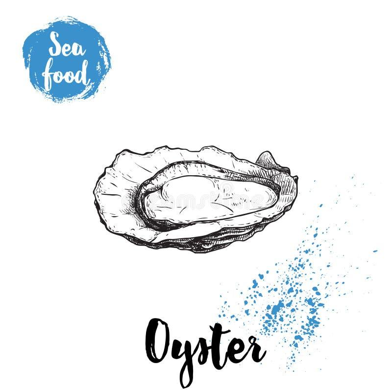 Ręka rysująca rozpieczętowana ostryga Owoce morza nakreślenia stylu ilustracja Świeży morski mollusk w skorupie royalty ilustracja