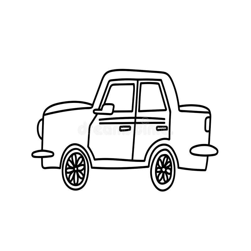 Ręka rysująca samochodowa wektorowa ikona ilustracji