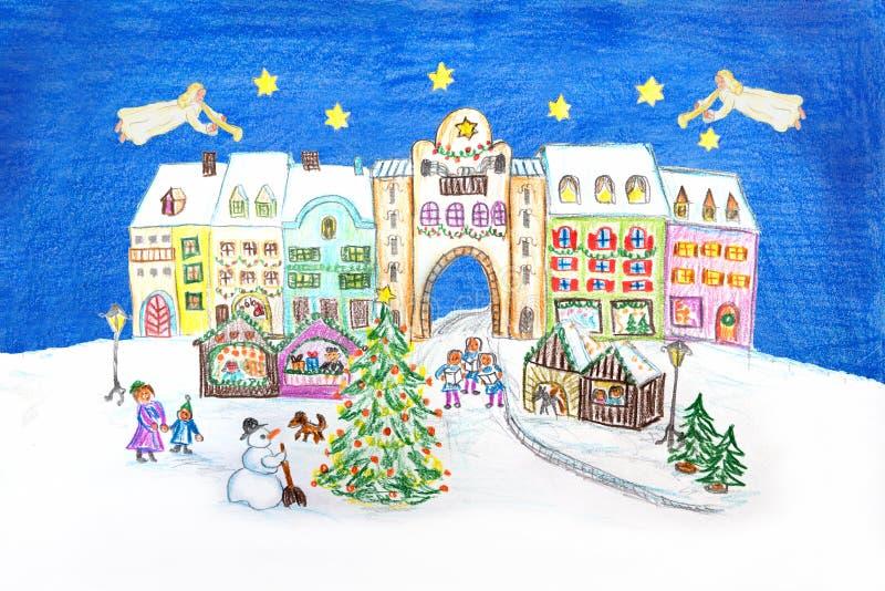 Ręka rysująca scena - mały miasteczko z bożymi narodzeniami wprowadzać na rynek anioł śliwki ilustracja wektor