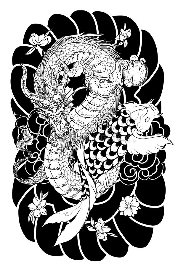 Ręka rysująca smoka i koi ryba z kwiatu tatuażem dla ręki, Japoński karpiowy kreskowego rysunku kolorystyki książki wektoru wizer royalty ilustracja