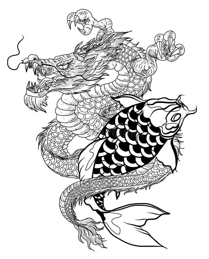 Ręka rysująca smoka i koi ryba z kwiatu tatuażem dla ręki, Japoński karpiowy kreskowego rysunku kolorystyki książki wektoru wizer ilustracji