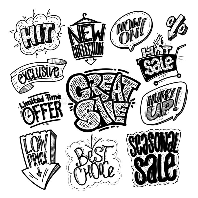 Ręka rysująca sprzedaż podpisuje set i drukuje - wielka sprzedaż, uderzenie, limitowana czas oferta, niska cena, najlepszy wybór, ilustracja wektor