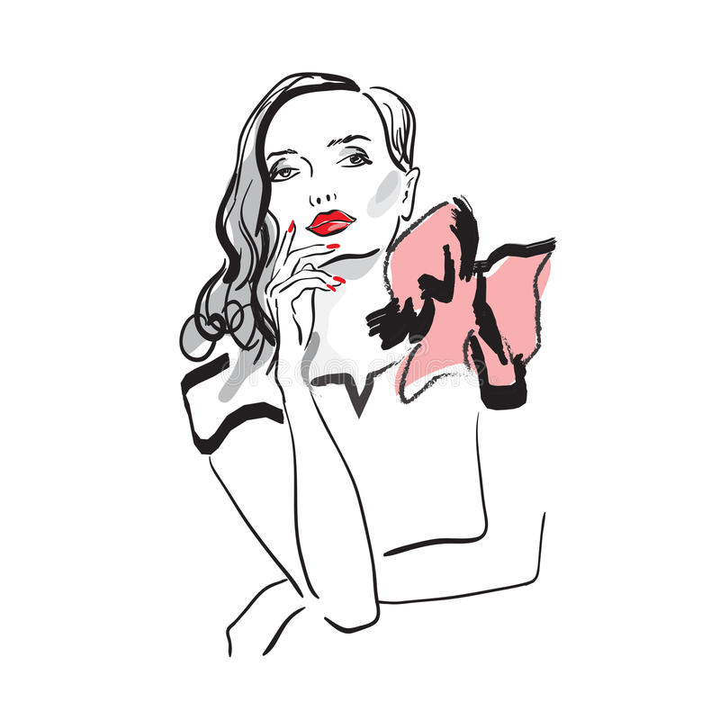 Ręka rysująca sylwetka młodej kobiety twarz royalty ilustracja