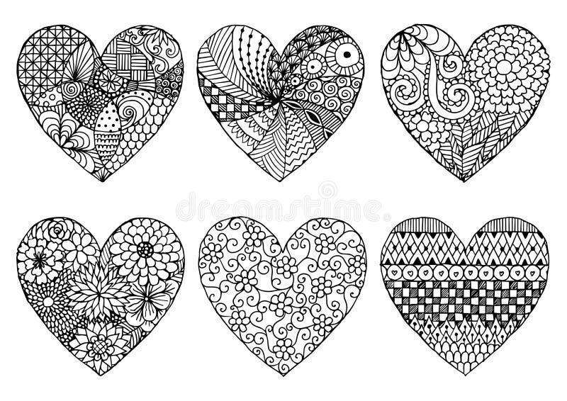 Ręka rysująca sześć serca zentangle stylów odizolowywa na bielu royalty ilustracja