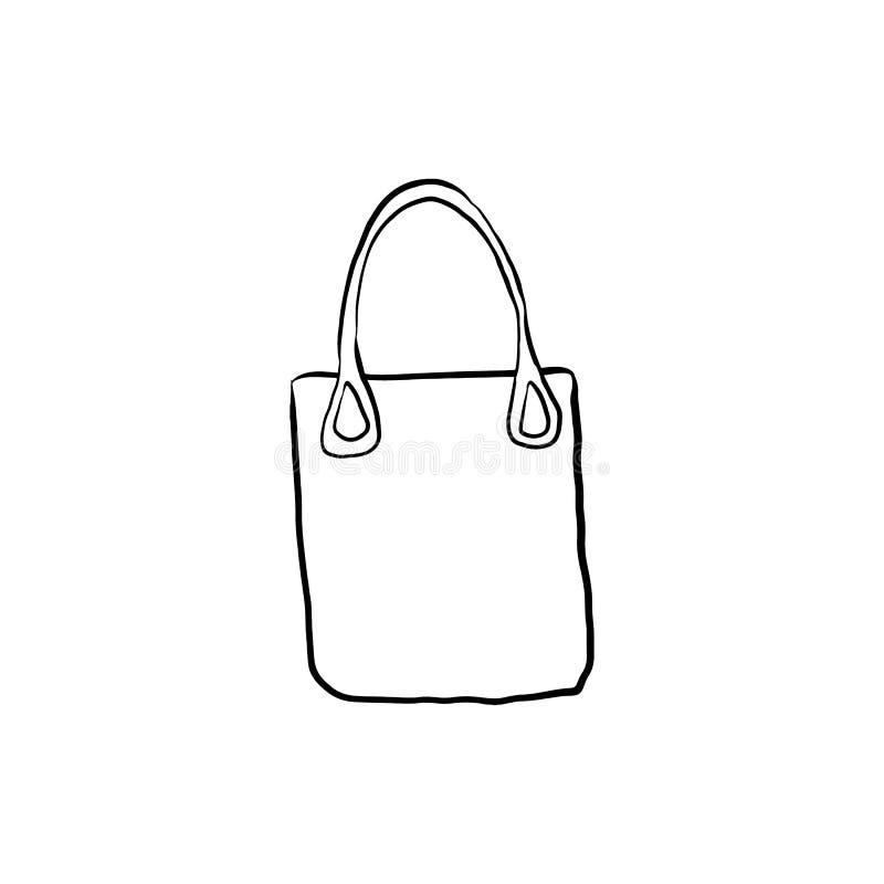 Ręka rysująca torba na zakupy odizolowywająca royalty ilustracja