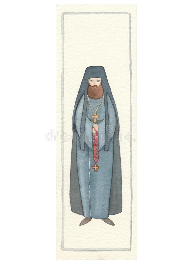 Ręka rysująca tylna pocztówka z archimandryta ilustracji