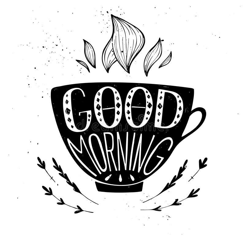Ręka rysująca typografii ilustracja - dzień dobry ilustracji