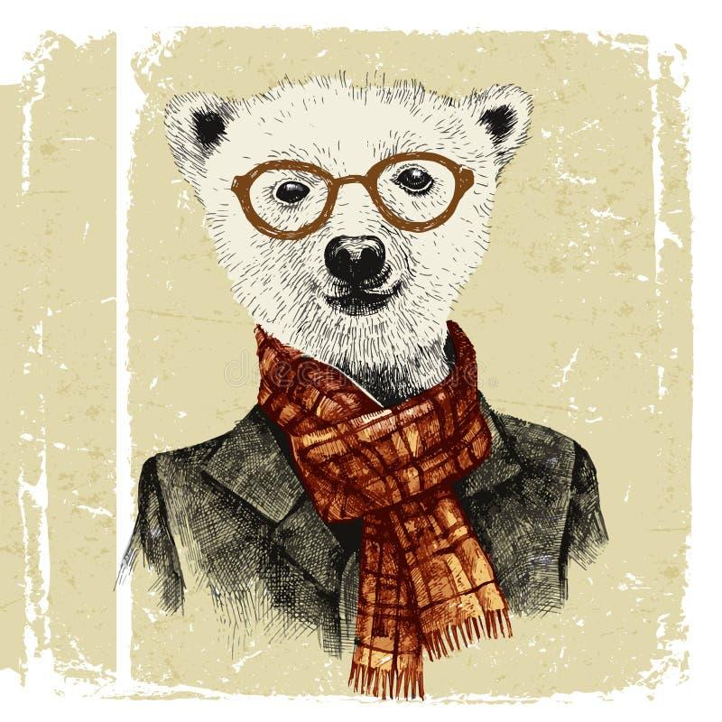 Ręka rysująca ubierał up modnisia niedźwiedzia w szkłach royalty ilustracja