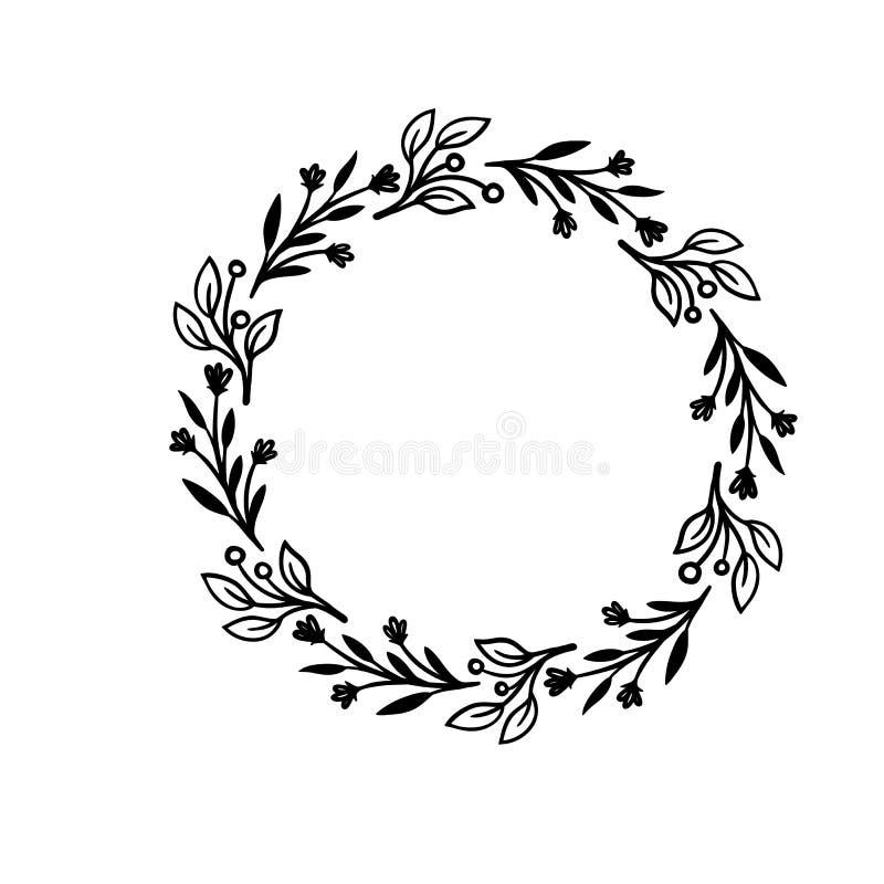 Ręka rysująca wektor rama Kwiecisty wianek z liśćmi dla poślubiać i wakacje dodatkowy przedmioty byli mogą dekoracyjni projekta ł royalty ilustracja