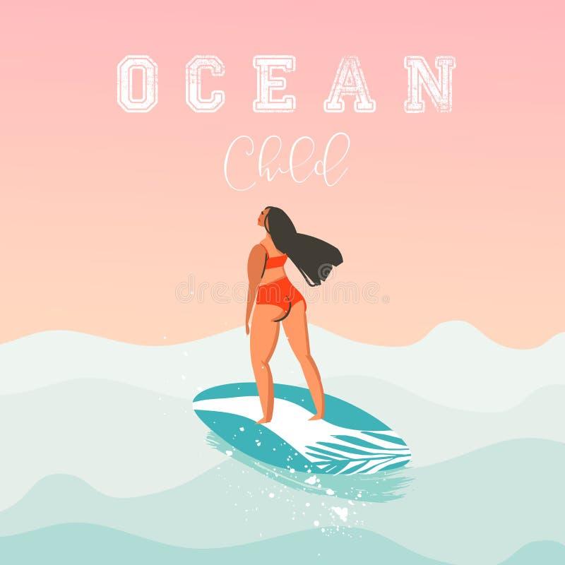 Ręka rysująca wektorowa abstrakcjonistyczna śliczna lato czasu plaży surfingowa dziewczyny ilustracja z czerwonym bikini, surfboa ilustracji