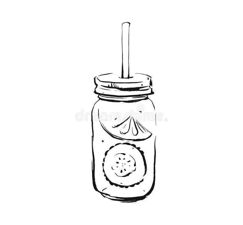 Ręka rysująca wektorowa abstrakcjonistyczna artystyczna kulinarna atramentu nakreślenia ilustracja tropikalny ogórkowy lemoniada  royalty ilustracja