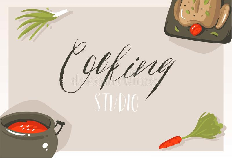 Ręka rysująca wektorowa abstrakcjonistyczna nowożytna kreskówki kulinarnej klasy pojęcia ilustracj plakata karta z jedzeniem, war ilustracji