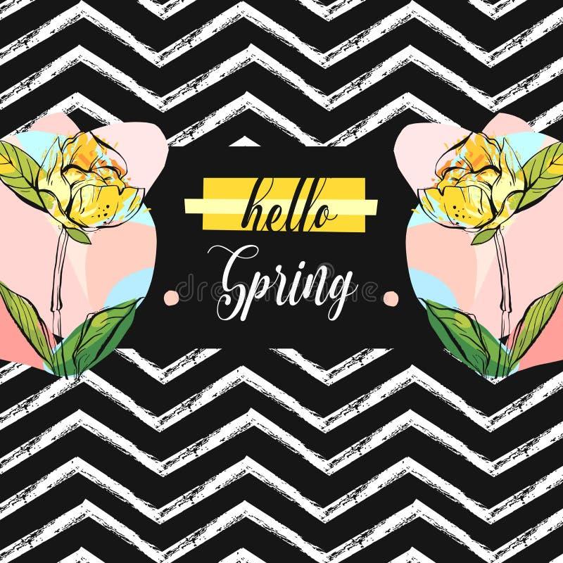 Ręka rysująca wektorowa abstrakcjonistyczna ogólnoludzka niezwykła cześć wiosny kartka z pozdrowieniami ilustracja z kolorową gra ilustracja wektor