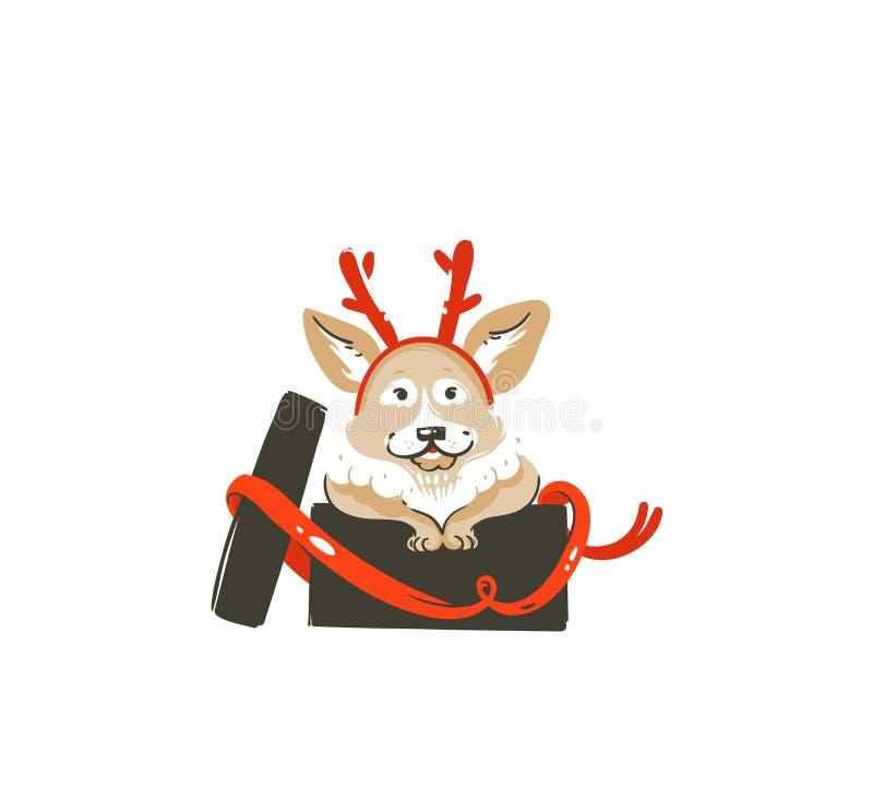 Ręka rysująca wektorowa abstrakcjonistyczna zabaw Wesoło bożych narodzeń czasu kreskówki ikony ilustracja z ssaka szczęśliwym pse ilustracja wektor