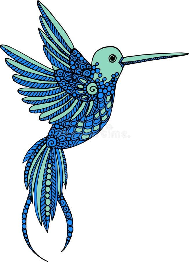 Ręka rysująca wektorowa dekoracyjna hummingbird ilustracja Kolorowy colibri rysunek z doodle linii ornamentami ilustracji
