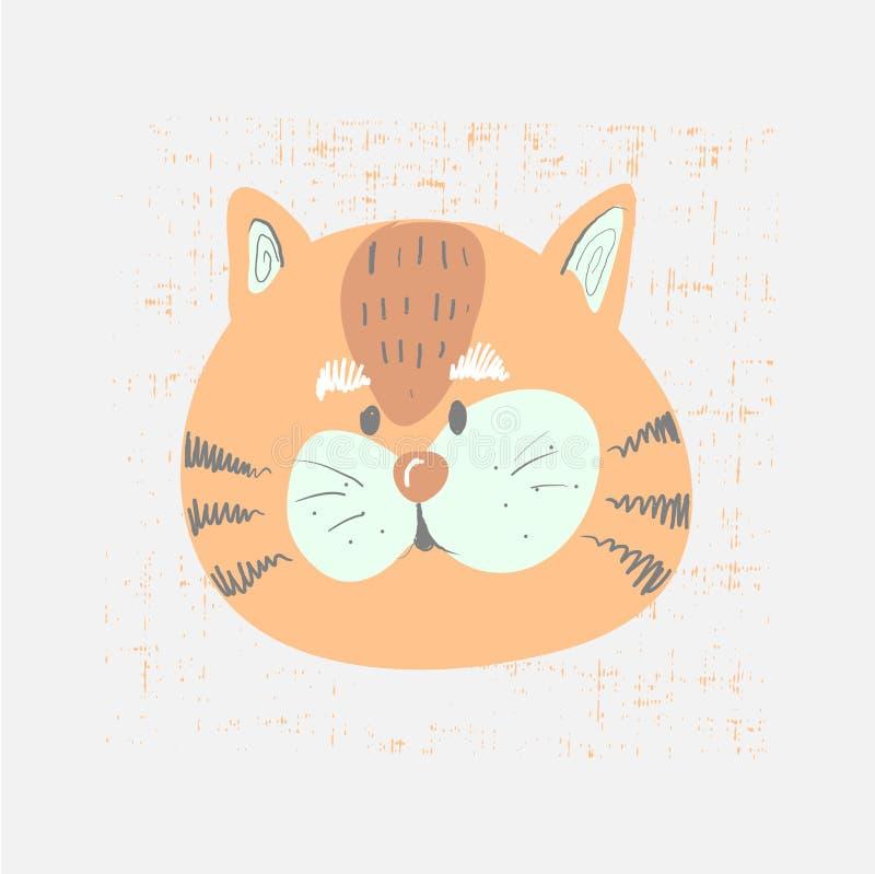 Ręka rysująca wektorowa ilustracja śliczna śmieszna tygrysia twarz Skandynawa stylowy płaski projekt Pojęcie dla dziecko druku ilustracji