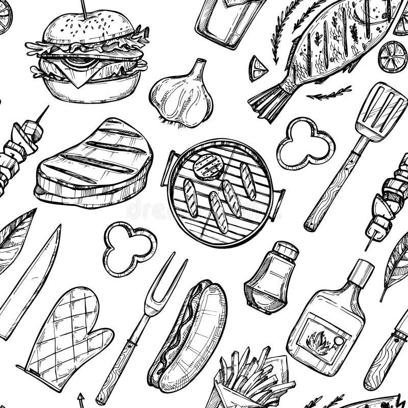 Ręka rysująca wektorowa ilustracja - BBQ tło ilustracja wektor