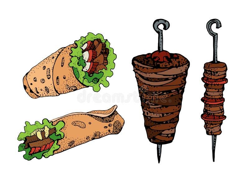 Ręka rysująca wektorowa ilustracja doner kebab Rolka, kurczak rolka, fast food, kebab, shawarma royalty ilustracja
