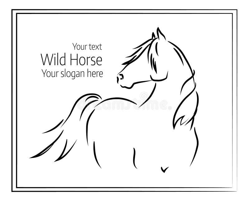 Ręka rysująca wektorowa ilustracja dziki koń ilustracja wektor
