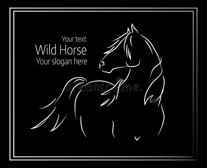 Ręka rysująca wektorowa ilustracja dziki koń royalty ilustracja