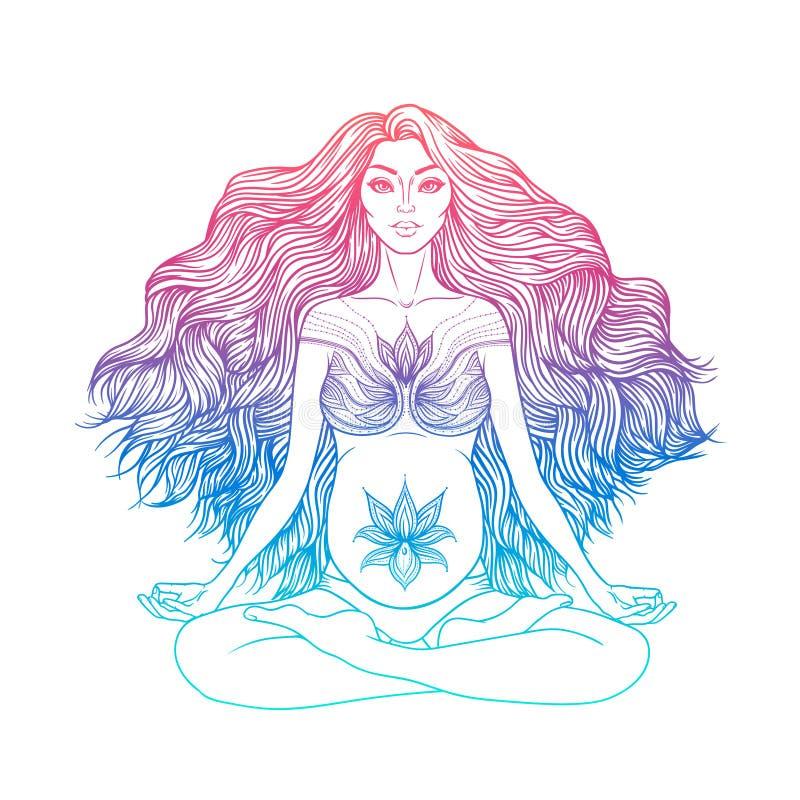 Ręka rysująca wektorowa ilustracja kobieta w ciąży obsiadanie w lotosie pozuje joga ilustracji