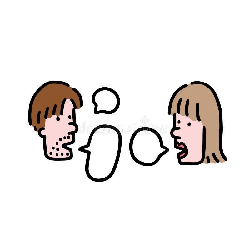 Ręka rysująca wektorowa ilustracja ludzie opowiada w kreskówka stylu Mężczyzna i kobiet pary mówienie z mową gulgocze ilustracja wektor