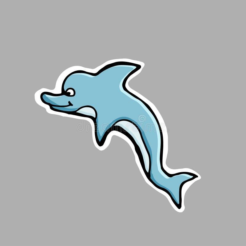 Ręka rysująca wektorowa ilustracja Mały śliczny delfin majcher Ca ilustracja wektor