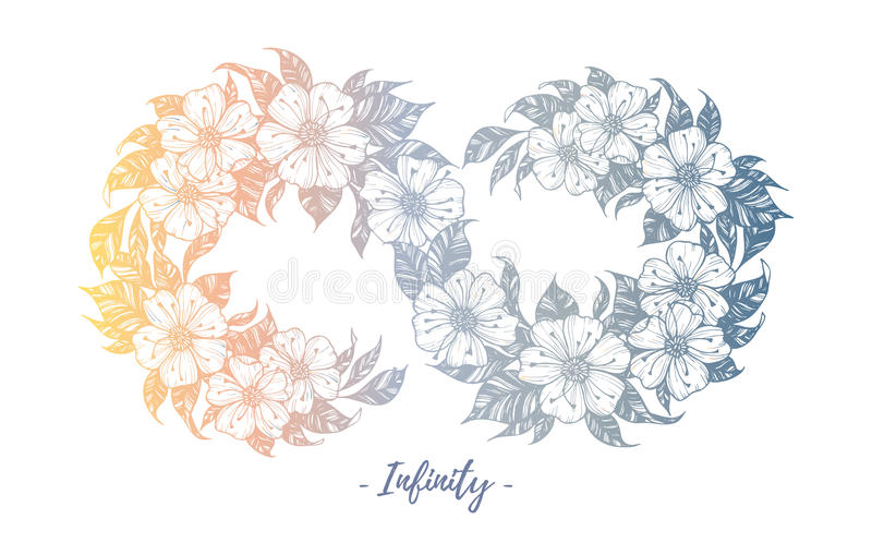Ręka rysująca wektorowa ilustracja - nieskończoność znak z kwiatami i ilustracji
