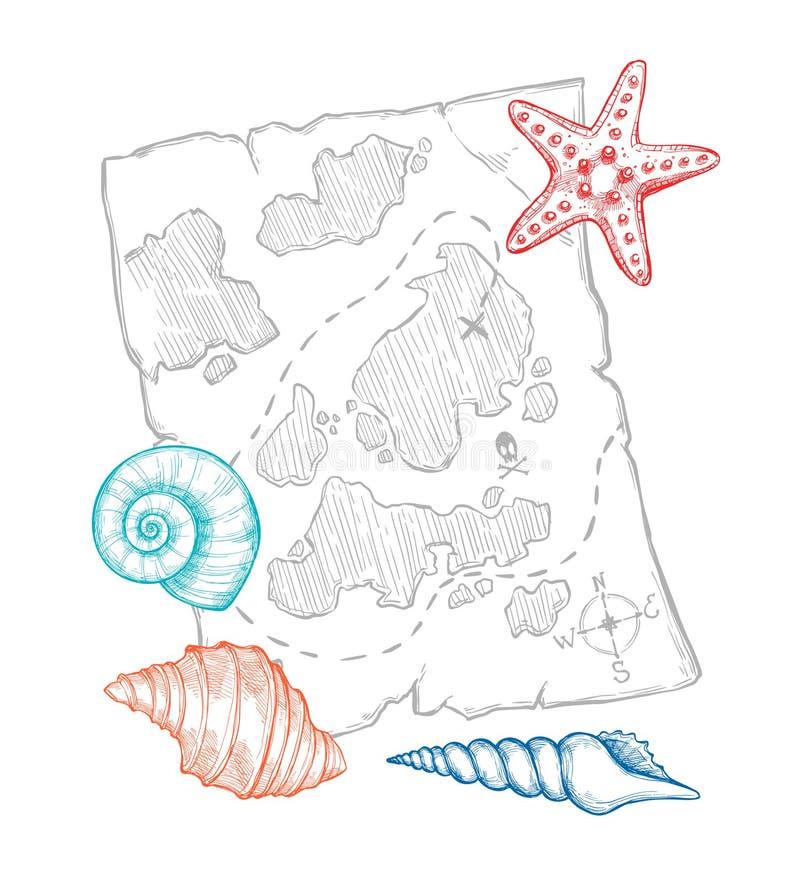 Ręka rysująca wektorowa ilustracja - skarb mapa z morzem łuska royalty ilustracja