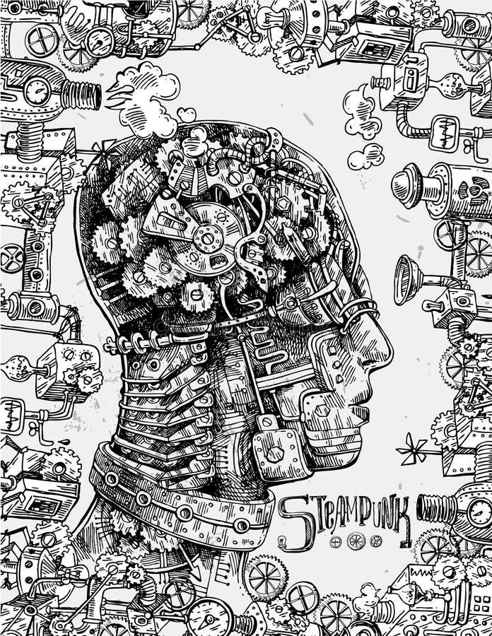 Ręka rysująca wektorowa ilustracyjna machinalna głowa ilustracji