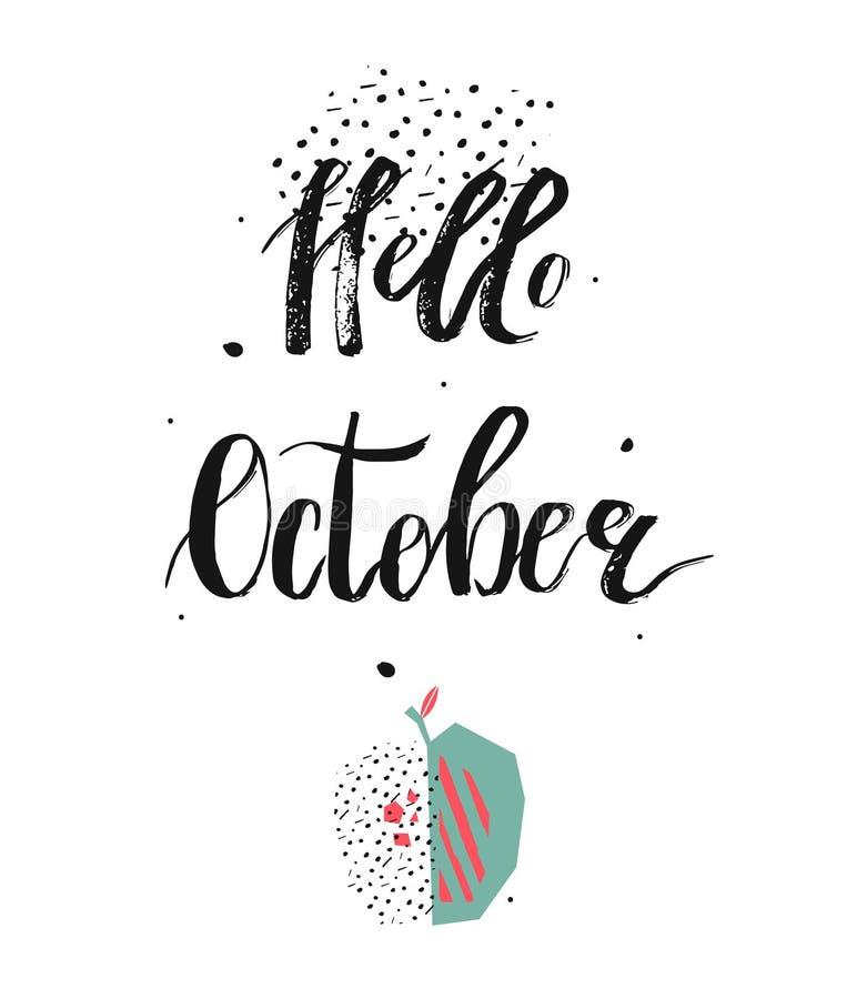 Ręka rysująca wektorowa jesieni ilustracja z ręcznie pisany nowożytną atramentu literowania fazą Październik i abstraktem texture ilustracja wektor